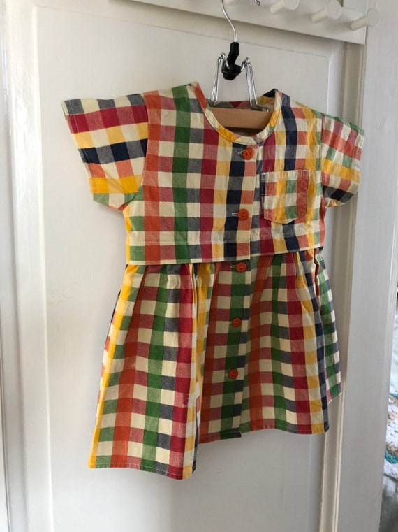 Vintage Girls dress sweet rainbow  checked stripe dress Scandinavian size 74