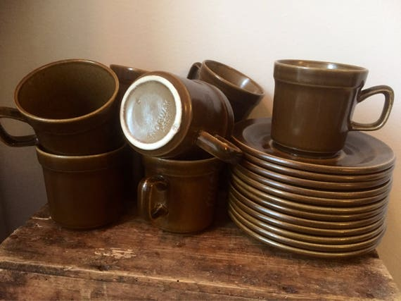 set of 9 /vintage /Stavangerflint/cups and saucers /marked /2657 /Norway