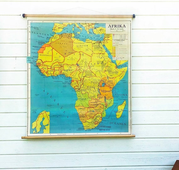 Large Vintage Swedish 1960 classroom school house Map of Africa / African printed in Stockholm