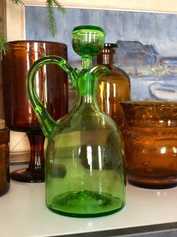 Older Swedish green glass decanter handblown Swedish glassworks Scandinavian