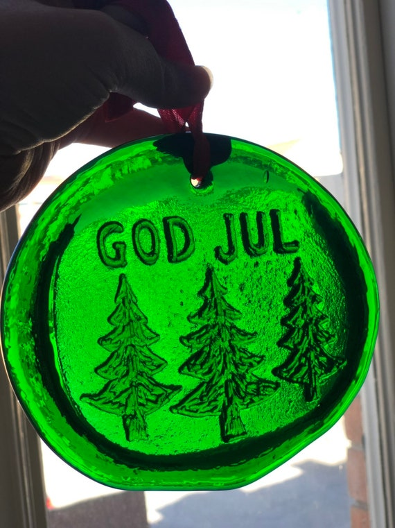 Swedish Green Glass pendant  god jul merry Christmas/ sun catcher from Swedish glassworks /