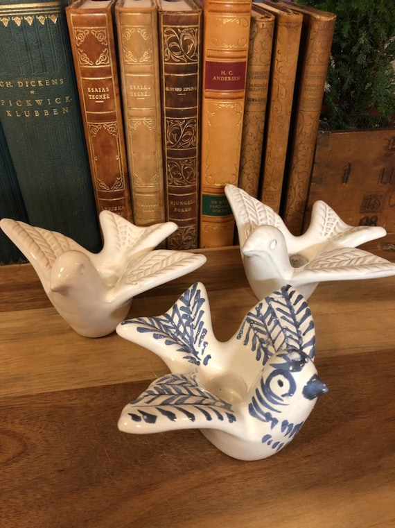 Set of 3 ceramic Swedish bird candleholders by Gabriel Scandinavian/midcentury ceramics doves duvan stamped