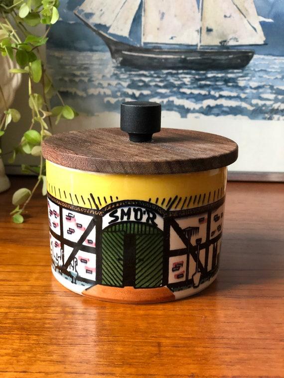 Older Hälsingborg Deco Skånska series butter jar wooden lid Scandinavian midcentury modern jar Design E Jarup