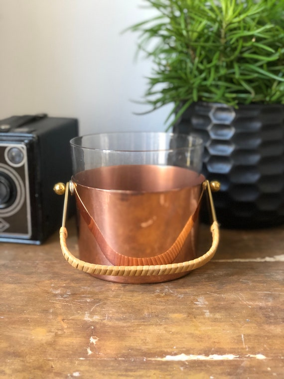 Midcentury modern ice bucket made in Sweden ystad Metall Scandinavian glass copper bucket midmod