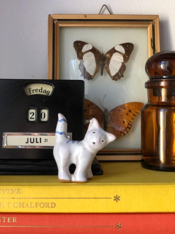 Danish ceramic cat figurine made and stamped Denmark midcentury modern studio pottery