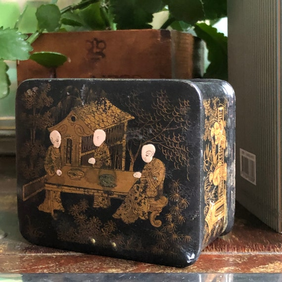 Antique Victorian Chinese wooden jewelry  box trinket box handmade hand painted collectable/ black and gold