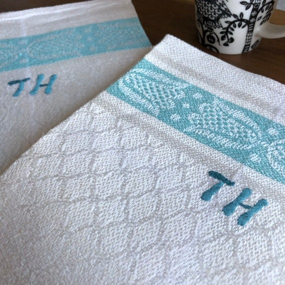 Pair of pure Swedish linen Vintage woven Scandinavian hand towels kitchen towels monogramrd TH turquoise and white farmhouse kitchen