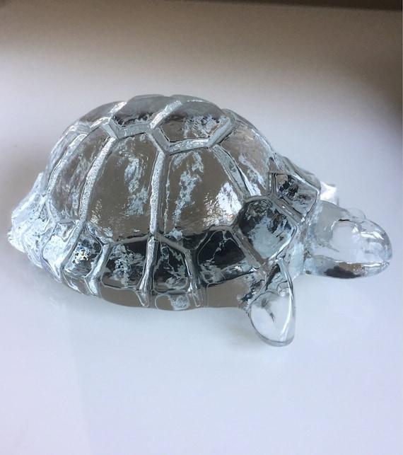 Kosta Boda zoo series designed by Bertil Vallien tortoise turtle glass figurine 1970s