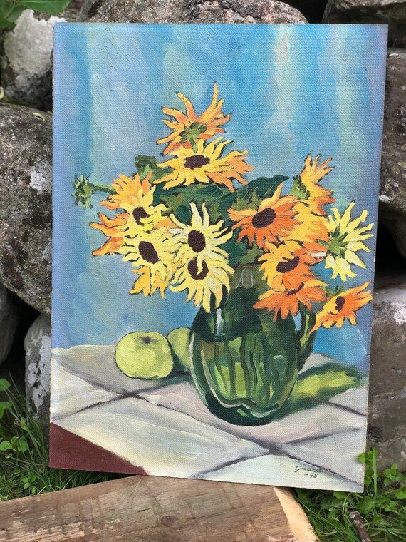 Swedish oil painting on board signed 1945 still life Flowers Scandinavian bright boho colors