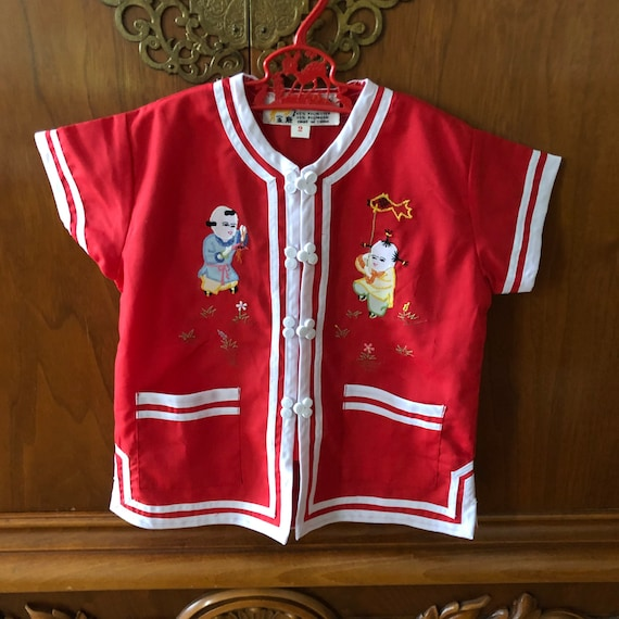 Vintage Kids Red and white Chinese shirt By Gold Deer