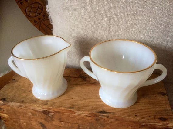 Fire King/Anchor Hocking /1950s/White with Gold Trim /Swirl/ Footed /Cream and Sugar cups