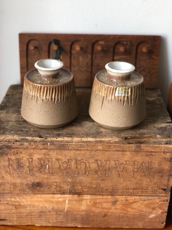 Pair of Selsbo vases studio pottery signed Scandinavian modern Sweden stamped glass glaze