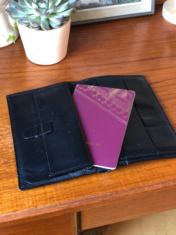 Vintage leather wallet passport cover organizer travel wallet