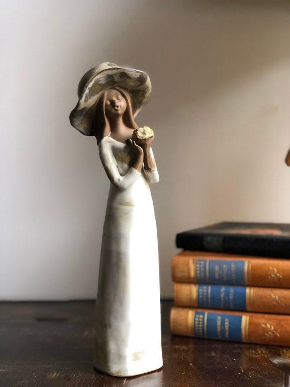 Swedish girl JIE figurine midcentury modern scandinavian blonde Swedish girl with flowers and floppy hat  Scandinavian modern boho