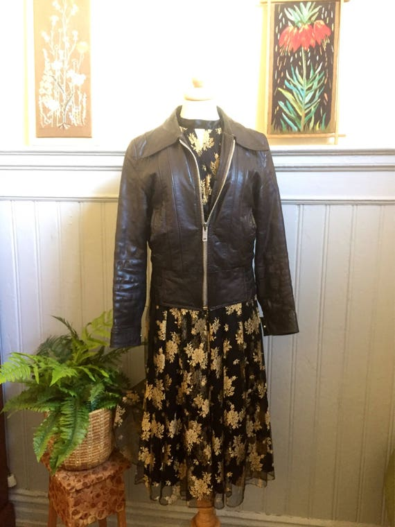 Vintage french 1970s brown leather motorcycle jacket made in Paris by Petroff earthy tones Parisian