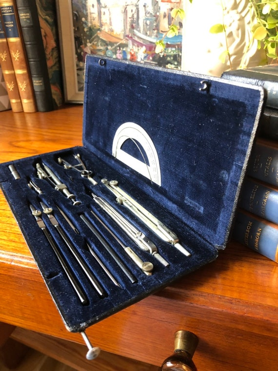 Vintage Scandinavian compass set drawing architecture tools in original case