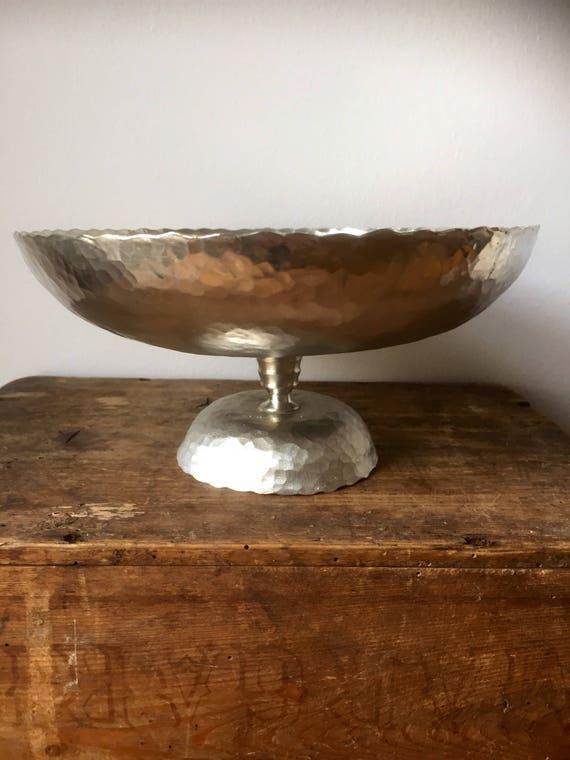 Swedish/hammered/pewter/bowl/ pedestal/vintage/handmade/traditional/folk art/stamped JL handarbete