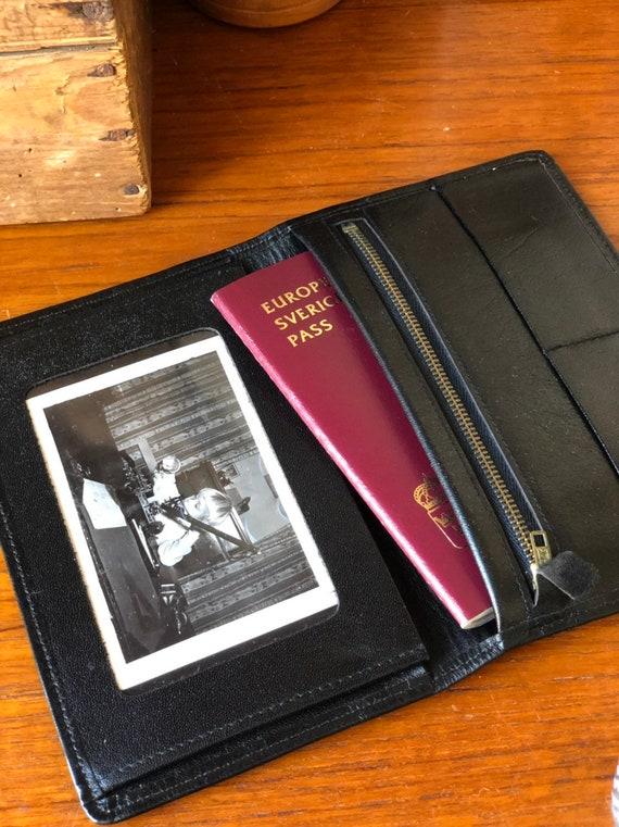 Vintage leather wallet passport cover organizer travel wallet