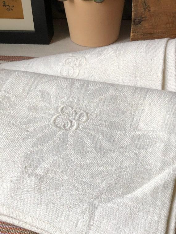 Set of 2 Vintage woven linen Scandinavian hand towels kitchen towels monogram EP white on white