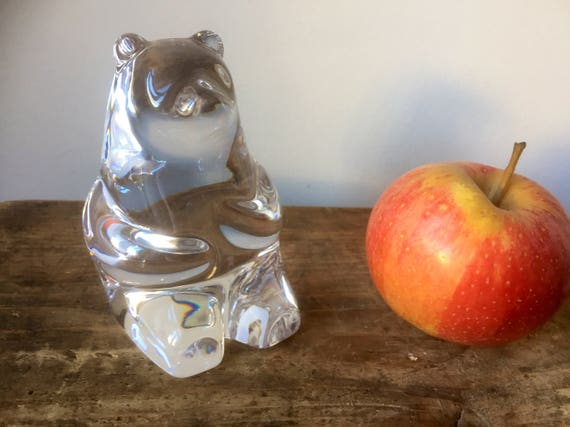 Large crystal bear figurine paperweight bookend Orrefors 1970s Olle  Alberius midcentury modern modernist
