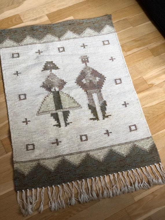 Swedish mid century handwoven wool wallhanging wall hanging Scandinavian boho/loomed/bohemian traditional weaving