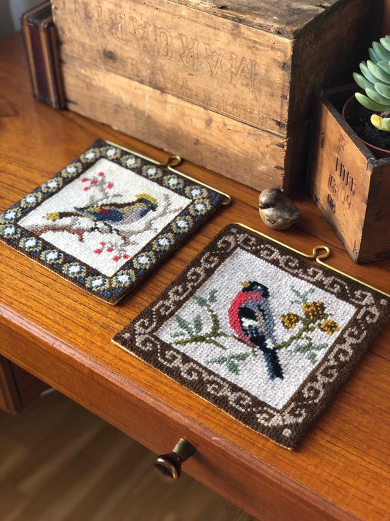 Pair of Swedish folk Art needlepoint wall hanging vibrant colors gold hardware hanger embroidered embroidery traditional Scandinavian/granny