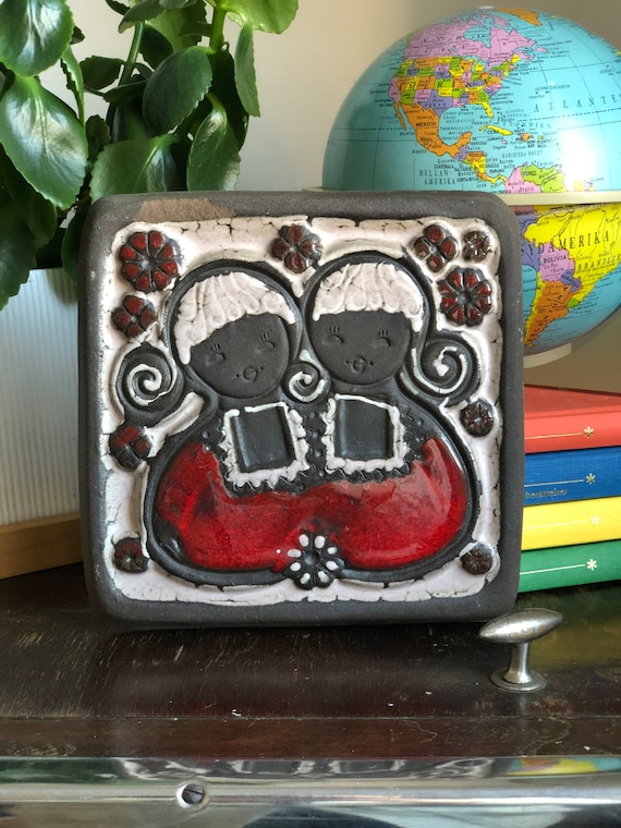 Soviet vintage twin girls ceramic wall tile wall plaque by TEKT