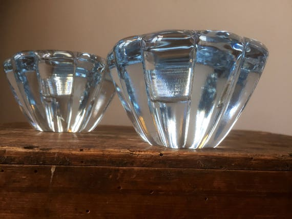Pair of 2 orrefors candlestick holders by Sven Palmkqvist called stella