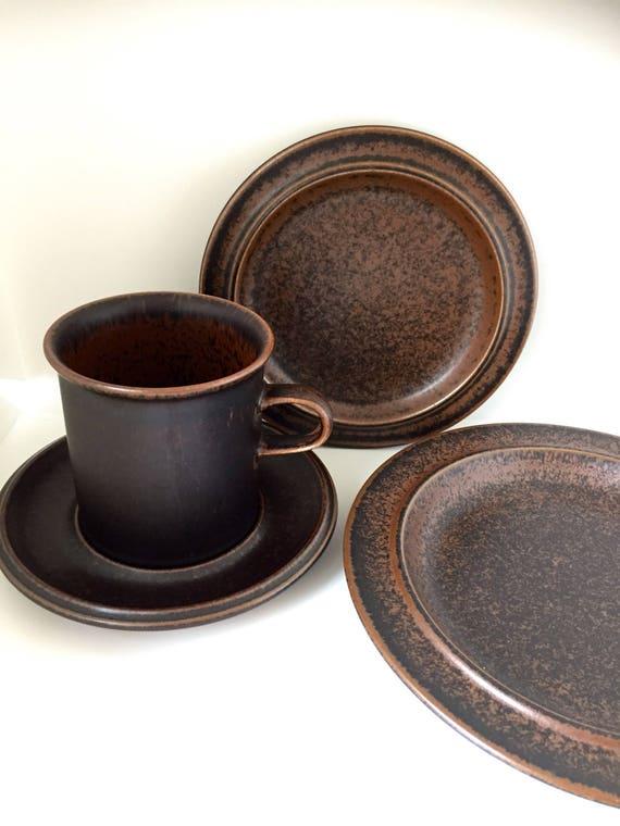 4 peice set/Set of 4/arabia/ruska/coffee cup/saucer/ cake plate/ sandwich plate/Finnish design/ulla Procope/1960s