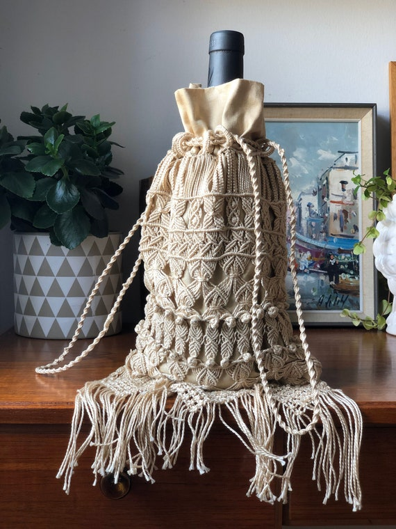 VIntage Wine carrier  Boho bag crocheted tote bottle bag light cream macrame