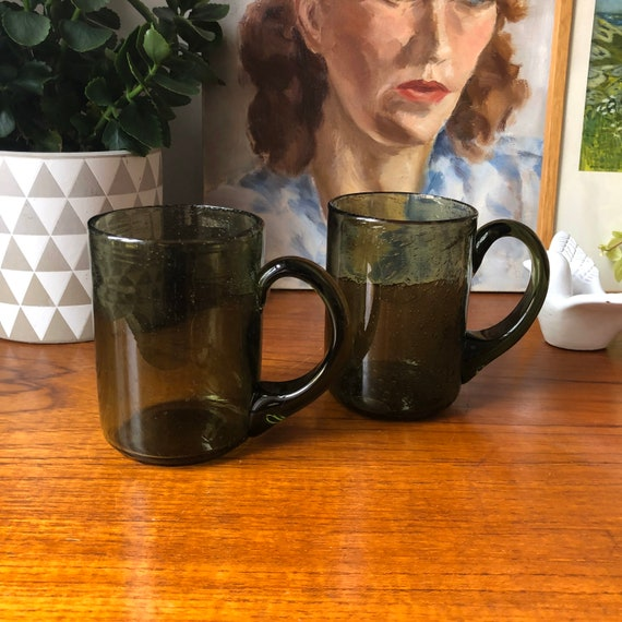 Erik Höglund mugs for Kosta green glass beer steins Scandinavian modern midcentury midmod