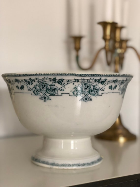 Antique older Gustavsberg pottery footed bowl farmhouse traditional large bowl