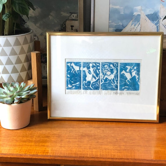 Swedish original turquoise block print modernist Scandinavian horse and riders framed by Fröken Wancke mixed media