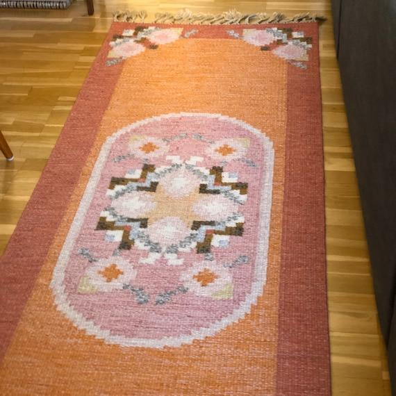 XL Ingegerd Silow wool rug Swedish kilim woven rug with fringe Scandinavian boho Röllakan