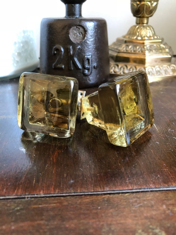 Pair of vintage glass knobs glass drawer handles / pull handles / drawer pull knobs/ golden champagne color