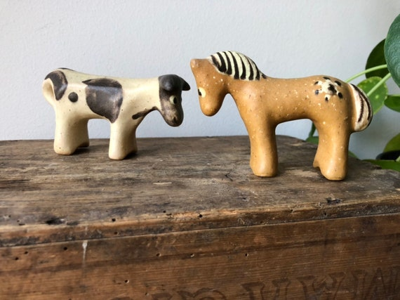 Höganäs Ville Sjöholm farm animal figurines 1940s pair cow and horse Sweden studio pottery mid century