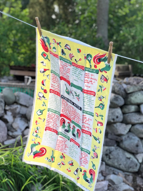 Irish linen vintage colorful tea towel / kitchen towel from Ireland featuring cocktail recipes
