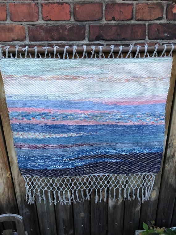 Original ombre Scandinavian rag rug woven textil art wall hanging tapestry nordic design /Swedish weaving Nordic fiber art