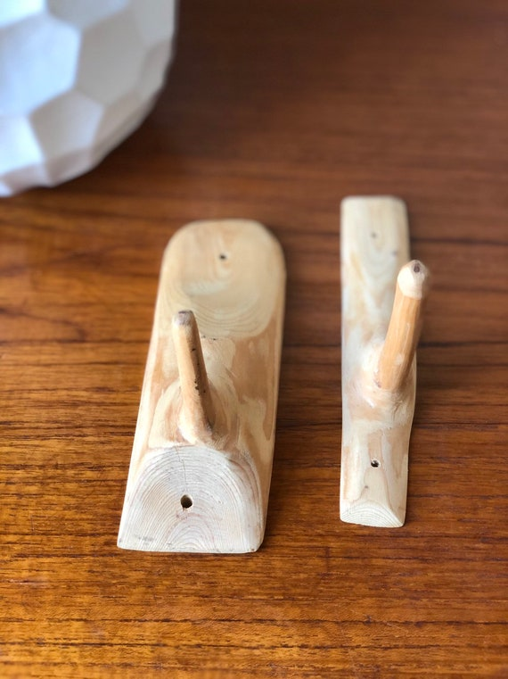 Pair of handcarved wooden wall hooks scandi primitive style hook farmhouse rustic wall hook hanger