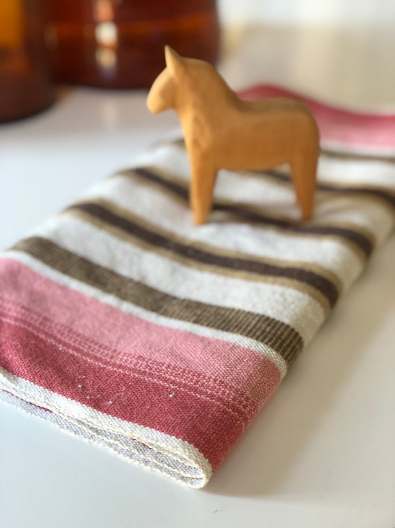 Long Retro Table Runner Swedish folk art linen traditional pattern tablecloth boho/tablescape