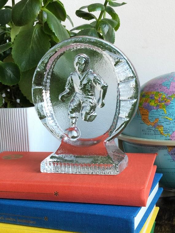 Vintage clear Paperweight Scandinavian football soccer player Sweden Bergdala glassworks Scandinavian Design