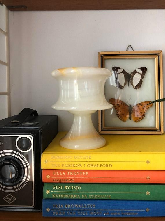 Art Deco onyx marble Italian footed votive candleholder hollywood regency Art nouveau onyx Italy