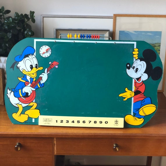 Vintage Disney slate chalkboard with clock and arabicas Mickey Mouse and Donald Duck