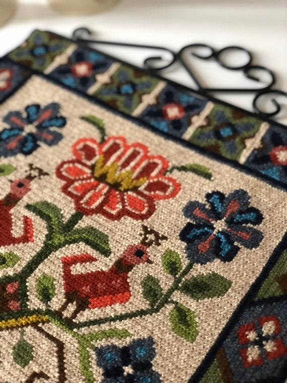Traditional Swedish folk art  twist stitch /needlepoint wall hanging birds and flowers gold hardware nanna chic/granny chic