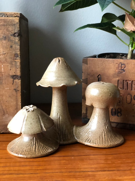 Scandinavian studio pottery ceramic mushrooms sculpture figurine scandiboho rustic style