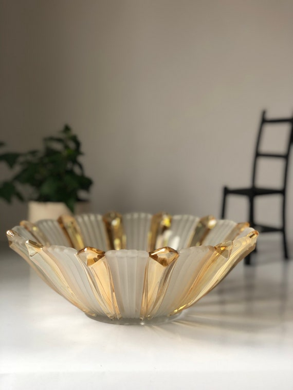Stunning Art Deco gold and glass bowl 1920 glass