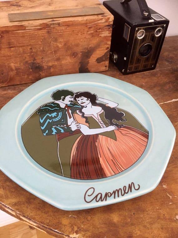 Carmen opera wall plate art nouveau Scandinavian Höganas designed by Åke Arenhill/