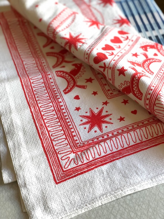 Vintage Christmas Scandinavian cotton retro tablecloth silkscreen midmod midcentury modern swedish red and white