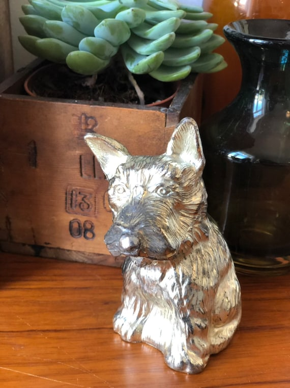 Vintage metal dog coin bank great patina perfect shelfie pet /Scandinavian / piggy bank