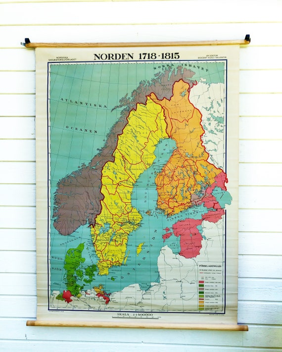 Large Vintage Swedish classroom wall Map of Scandinavian/ Norden 1718- 1815 printed in Stockholm by Hugo Valentin